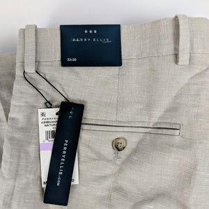 Perry Ellis Dress Pants Linen Light Tan Sz 32x30